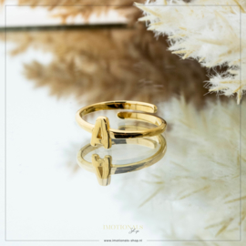 Imotionals One Size Letter Ring A Goudkleurig