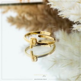 Imotionals One Size Letter Ring P Goudkleurig
