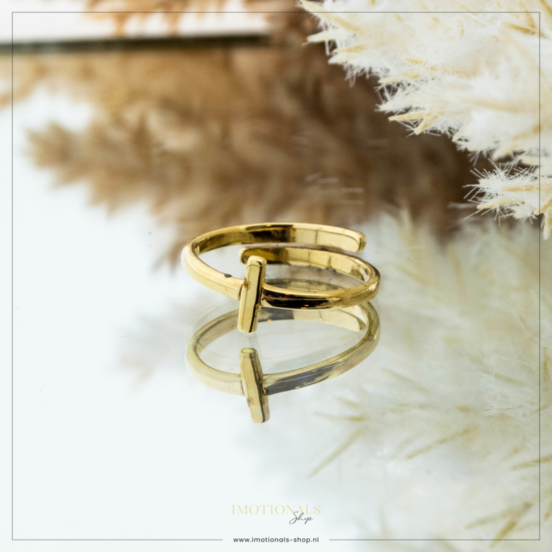 Imotionals One Size Letter Ring I Goudkleurig