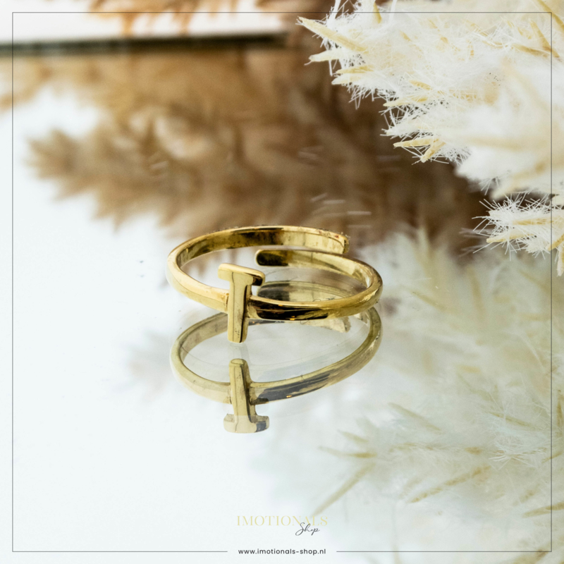 Imotionals One Size Letter Ring T Goudkleurig