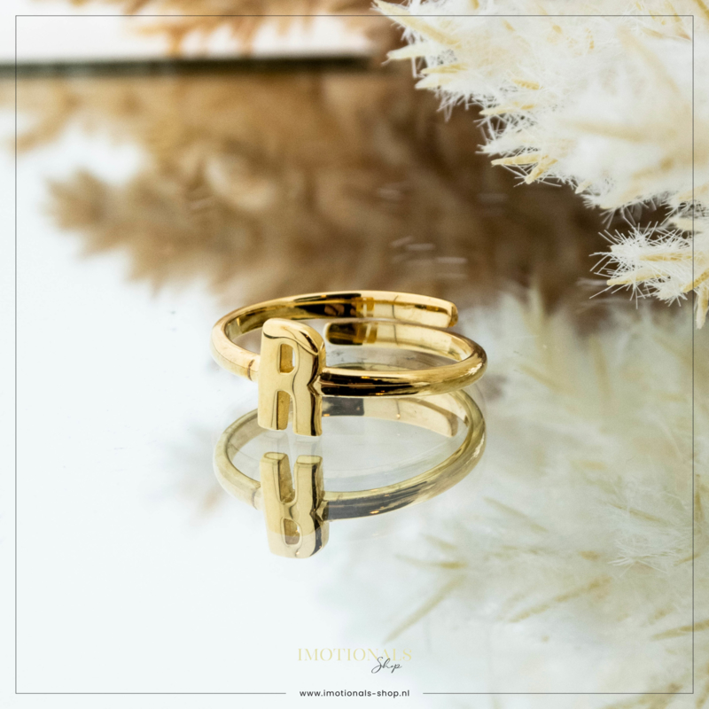 Imotionals One Size Letter Ring R Goudkleurig