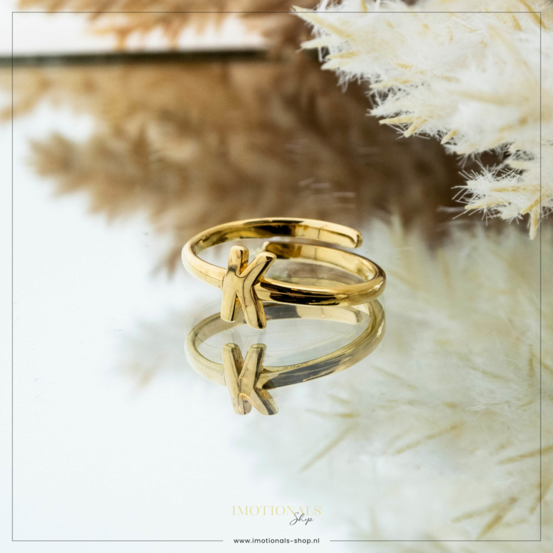 Imotionals One Size Letter Ring K Goudkleurig