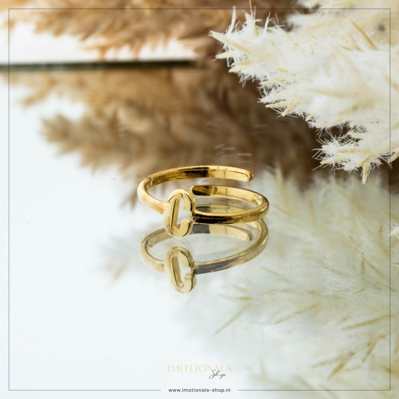 Imotionals One Size Letter Ring C Goudkleurig