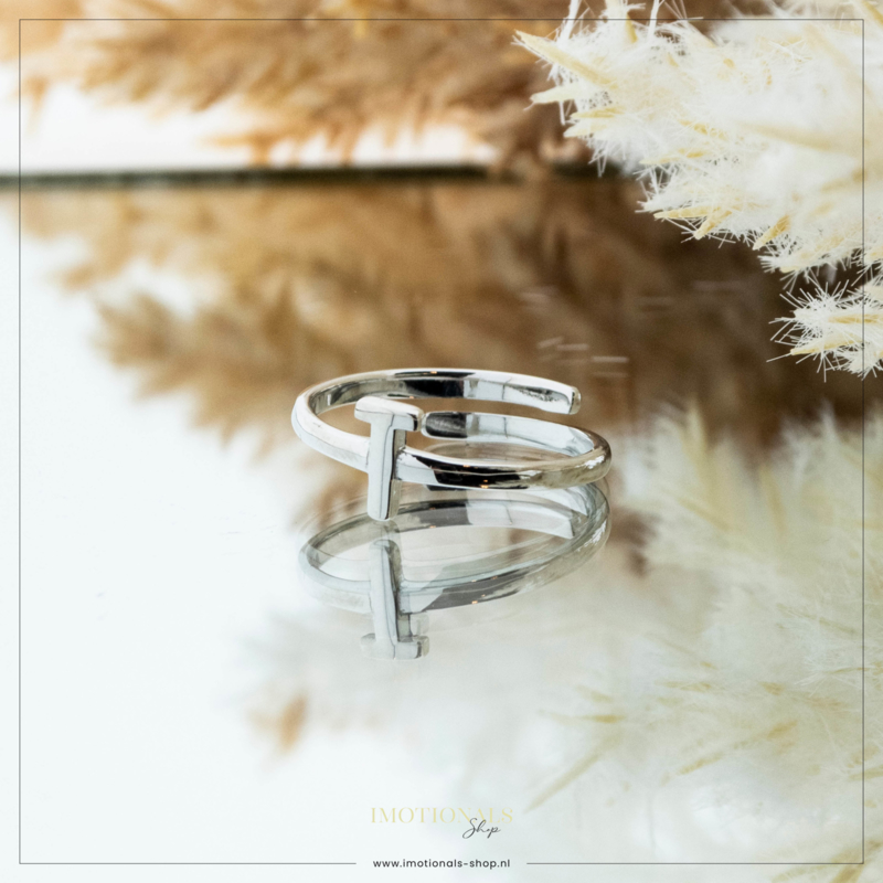 Imotionals One Size Letter Ring T Zilver