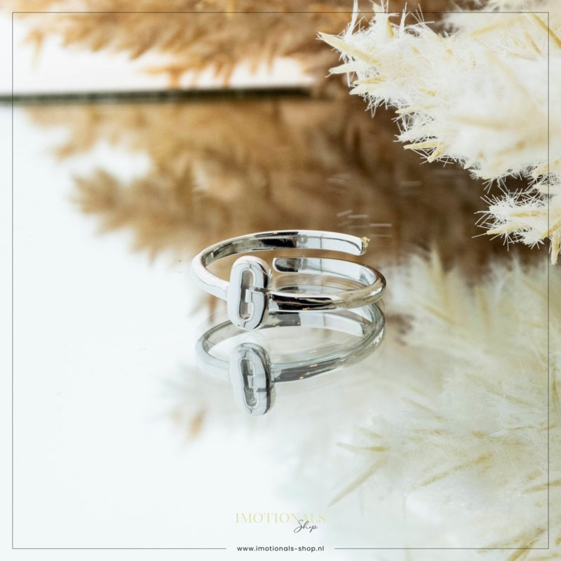 Imotionals One Size Letter Ring G Zilver