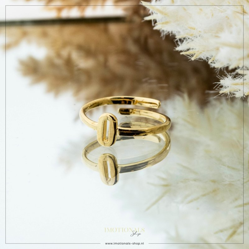 Imotionals One Size Letter Ring O Goudkleurig