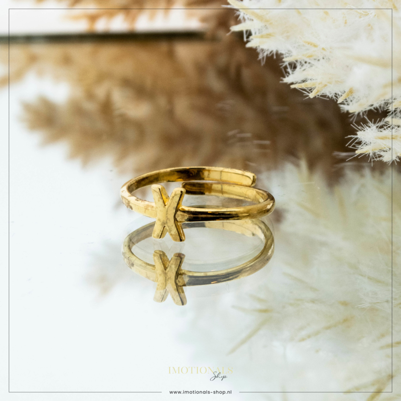 Imotionals One Size Letter Ring X Goudkleurig
