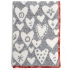 Baby Heart grijs - wiegdeken wol