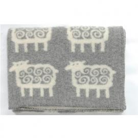 Schaap - ledikantdeken wol grijs