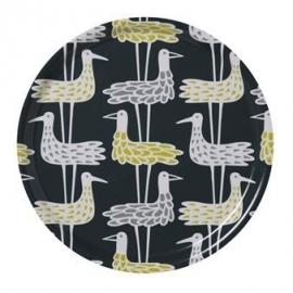 Bengt & Lotta rond dienblad 31 cm shorebirds blauw