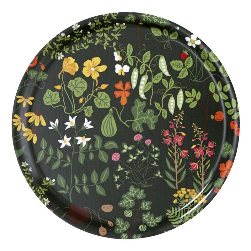 Dienblad rond Leksand groen Ø31 cm.