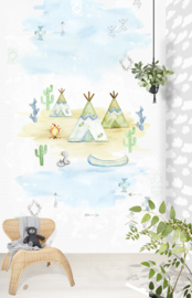 TIPI TIME GREEN FOTOBEHANG - Kidswalls Puck & Rose INK7006