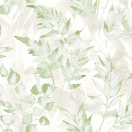 GROEN AQUAREL BLAD BEHANG - Dutch Glasshouse 90291