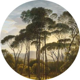 """Behangcirkel Italiaans landschap met parasoldennen """"Hendrik Voogd (1807)"""" - KEK Amsterdam Wonderwalls CK-011"""