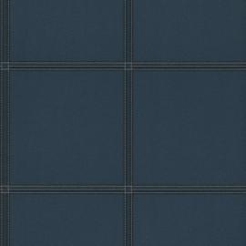 BLAUW LEDERLOOK BEHANG - Rasch Cosmopolitan 576436