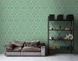 KLASSIEK ORNAMENTEN BEHANG - Groen Goud Zilver - AS Creation Versace 4