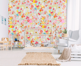 FLOWER FIELD GREY FOTOBEHANG - Kidswalls Kay & Liv INK7013