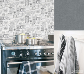 WIJNETIKETTEN BEHANG - Noordwand Kitchen Recipes G12284