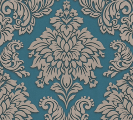 TURQUOISE TAUPE ORNAMENTEN BEHANG - AS Creation Metropolitan Stories 368985