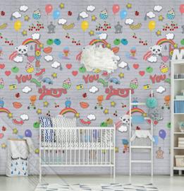 GRAFFITI BABY GREY FOTOBEHANG - KidsWalls Abby & Bryan INK7230