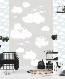 SWEET CLOUDS GREY FOTOBEHANG - Kidswalls Kay & Liv INK7023