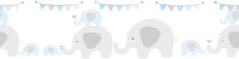 FEESTENDE OLIFANTEN BEHANGRAND - AS Creation Lovely Kids 403748