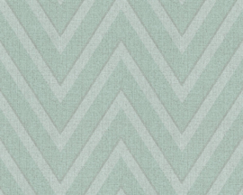 GROEN ZIGZAG BEHANG - AS Creation Hygge 363844