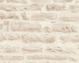 BEIGE CREME STENEN BEHANG - AS Creation Best of Wood'n Stone 2 35580-3