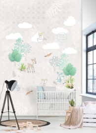 FORREST FRIENDS GREY FOTOBEHANG - Kidswalls Kay & Liv INK7047