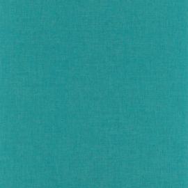 DONKER TURQUOISE LINNENLOOK BEHANG - Caselio Linen 68526777