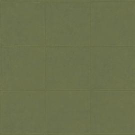 WARM GROEN GESTIKT LEDERLOOK BEHANG - ARTE Atelier CAMPO 21051