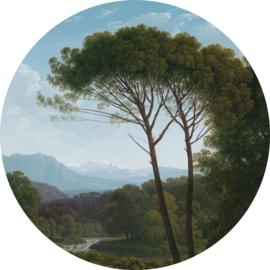 """Behangcirkel Italiaans landschap met pijnbomen """"Hendrik Voogd (1795)"""" - KEK Amsterdam Wonderwalls CK-003"""
