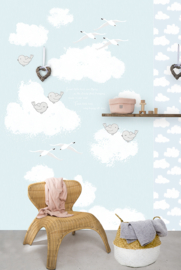 SWEET CLOUDS BLUE FOTOBEHANG - Kidswalls Kay & Liv INK7005