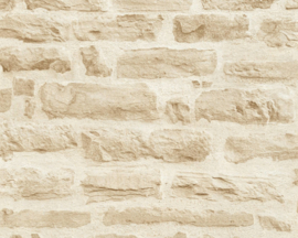 BEIGE CREME STENEN BEHANG - AS Creation Best of Wood'n Stone 2 35580-2