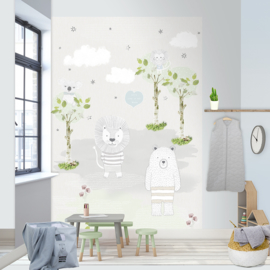 BEARS AND LIONS FOTOBEHANG - Kidswalls Puck & Rose INK7011