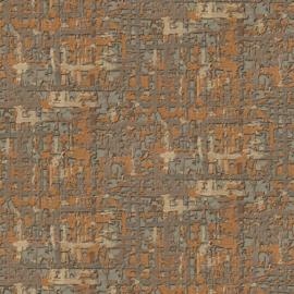 BRUIN ORANJE ABSTRACT ZIJDE BEHANG - Dutch Embellish DE120096