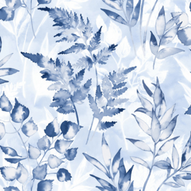 BLAUW AQUAREL BLAD BEHANG - Dutch Glasshouse 90293