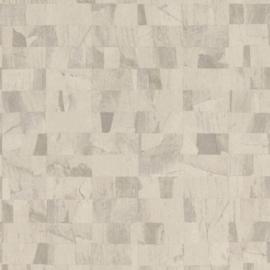 BEIGE GRIJZE MARMERBLOKKEN BEHANG - Rasch Textil ABACA 229362