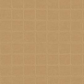 BRUIN GEEL GESTIKT LEDERLOOK BEHANG - ARTE Atelier ALMA 21019