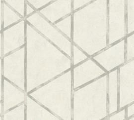 WIT MET ZILVER GRAFISCH BEHANG - AS Creation Metropolitan Stories 369285