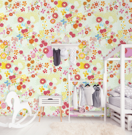FLOWER FIELD MINT FOTOBEHANG - Kidswalls Kay & Liv INK7014