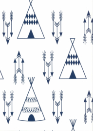 BLAUWE SCANDINAVISCHE TIPI BEHANG - Noordwand Fabulous World 67107-4