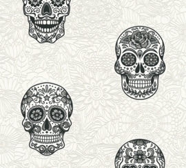 """Skulls"" DOODSHOOFD BEHANG - AS Creation Boys & Girls 6 35817-1"