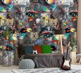 GRAFFITI MET AUTO´S EN MOTOREN FOTOBEHANG - KidsWalls Thomas INK7100
