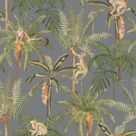 AAPJES BEHANG - Dutch Wallcoverings First Class Utopia Ateles Silver 91100