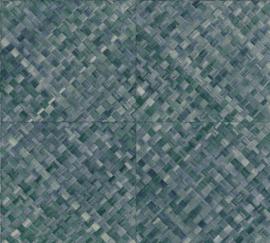 BLAUW/GROEN VLECHTWERK BEHANG - ARTE Selva PANDAN 34108