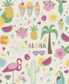 ALOHA FLAMINGO BEHANG - Rasch Kids & Teens 3 815238