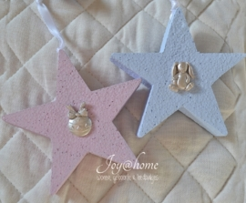 Lichtblauwe polystyreen sterren met figuurtje & lintje