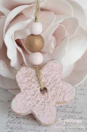 Houten bloem met kralen in 6 kleuren
