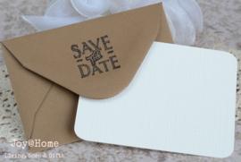 Envelopje Save the Date & kaartje eigen tekst. In vele kleurtjes